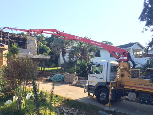 Pumping concrete for a house